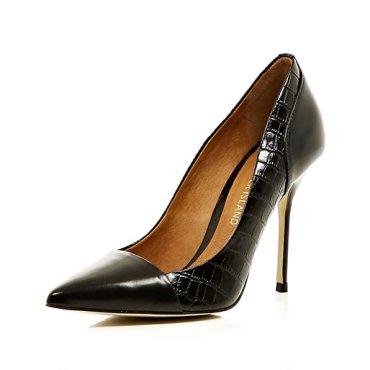 River Island - Black Croc Panel Toe Cap Court Shoes