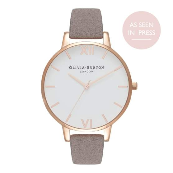 Eco-Friendly White Dial Grey Lilac & Rose Gold Watch - £85.00