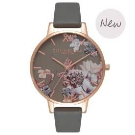 Marble Floral Dark Grey & Rose Gold Watch - £82.00
